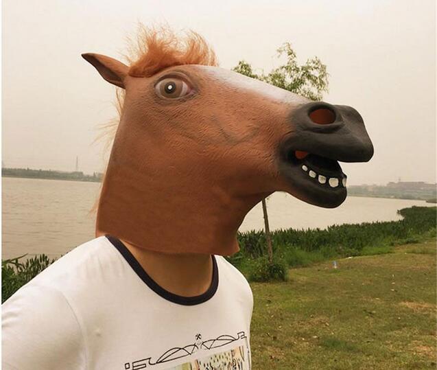 Horse Head Maska Creepy Kürk Mane Lateks Həqiqi Maska Tam Üz - Şənlik aksesuarları - Fotoqrafiya 5