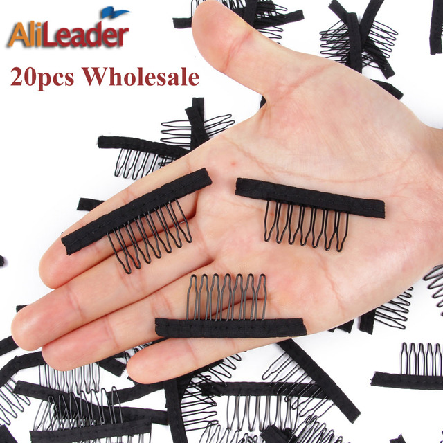 20pcs Black Wig Combs With Polyster Cloth 7 Teeth Hair Wig Combs
