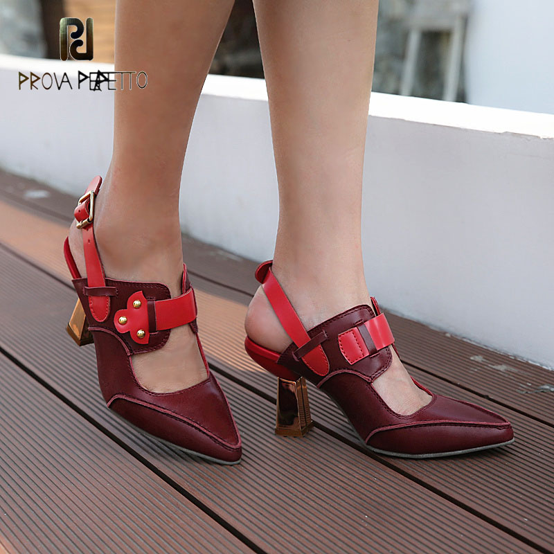 Prova Perfetto sexy hollow pointed toe metal chunky heel genuine leather women pumps belt buckle slingback sandals high qualityProva Perfetto sexy hollow pointed toe metal chunky heel genuine leather women pumps belt buckle slingback sandals high quality