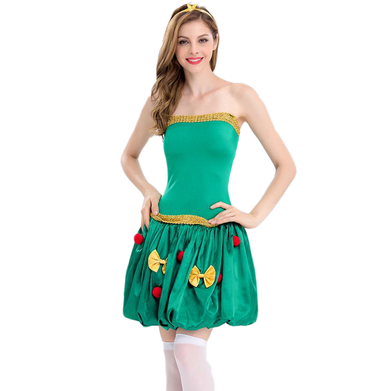 Carnival Christmas Sexy Costume Green Christmas Tree Costume Cute Puff Skirt Lantern Skirt Dress Women