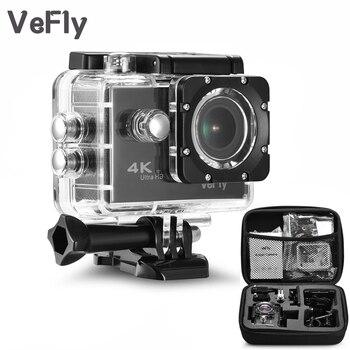VeFly 2,0 pulgadas pantalla con WiFi 1080P 4K cámara de acción deportiva impermeable, 16MP portátil negro Cámara deportiva Go Pro accesorios set de fundas