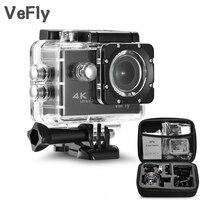 Mejor VeFly 2,0 pulgadas pantalla con WiFi 1080P 4K cámara de acción deportiva impermeable, 16MP portátil negro Cámara deportiva Go Pro accesorios set de fundas