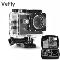 VeFly 2.0 inch Screen Wifi 1080P 4K Waterproof Sports Action Camera, black portable 16MP Sport Cam Go Pro Accessories case set