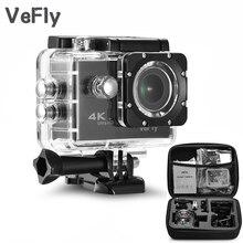 Vefly câmera de ação esportiva impermeável, tela de 2.0 polegadas wifi 1080p 4k, conjunto de acessórios preto portátil câmera de esporte 16mp