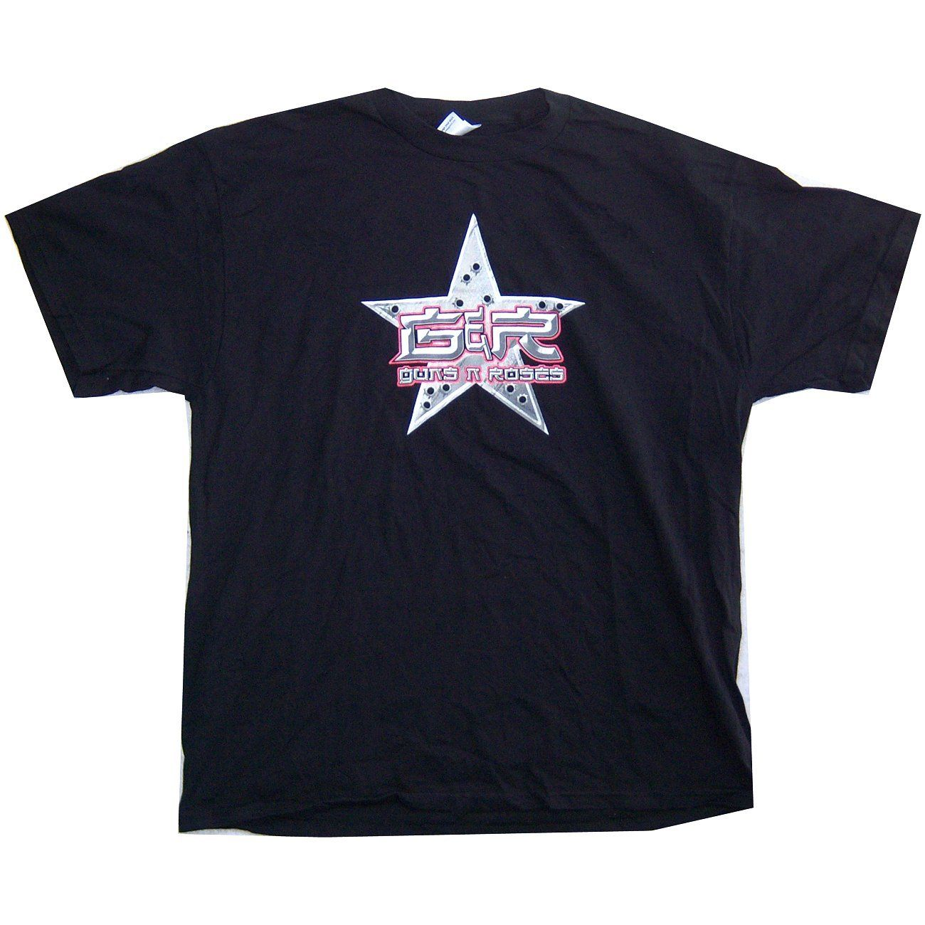 GUNS N ROSES BULLET HOLES STAR LOGO BLACK T-SHIRT XL X-LARGE NEW