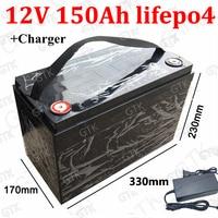 GTK 12 V 150AH Lifepo4 batterie al litio impermeabile Con BMS per 1800 W veicolo Golf carts CAMPER EV Solare di Stoccaggio barche + 10A caricatore