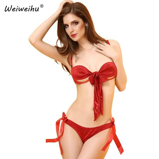 308eeeaa21 Kuper y Cereza Mujeres Sujetador Ropa Interior Caliente Sexy Pantalones  Tanga Erótico Bow Decoración Erótico de