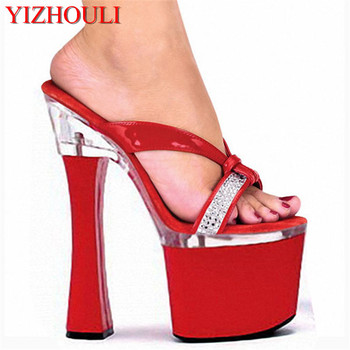 18CM, the platform that bake lacquer sex appeal is fashionable tall heel slipper, large size sex appeal bride marries Slippers