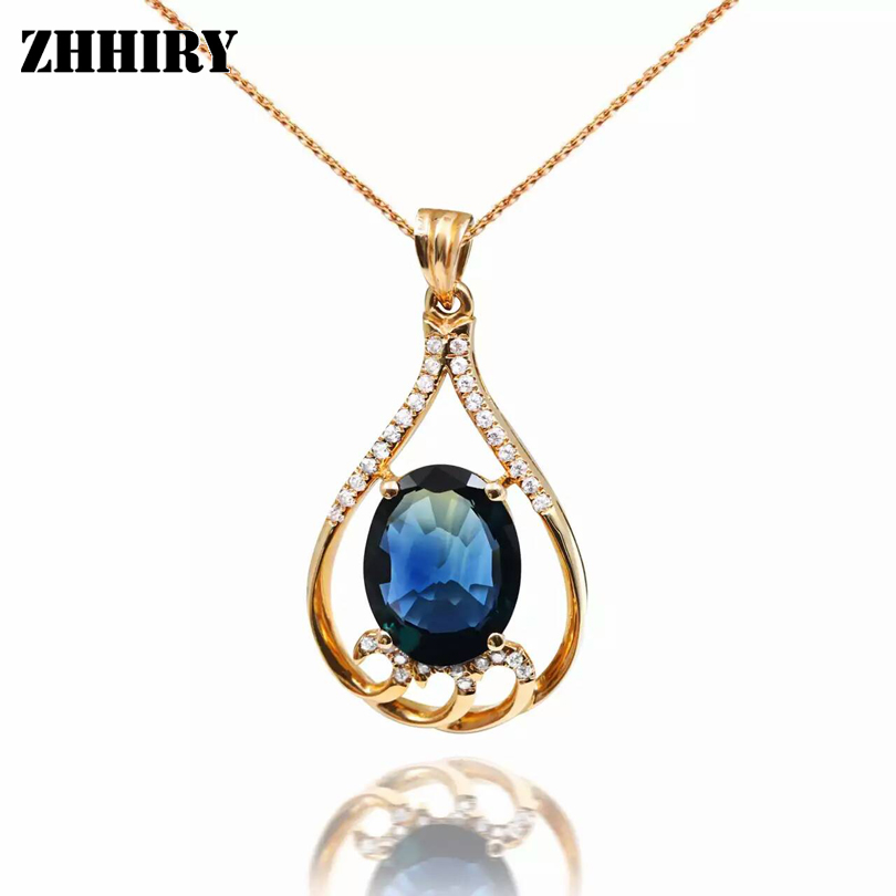 Solid 18K Rose Gold Natural Sapphire Necklace Pendant Genuine Women Jewelry With Chain ZHHIRY genuine 18k 750 rose gold 1ct hearts arrows test positive lab grown moissanite diamond engagement pendant necklace chain women