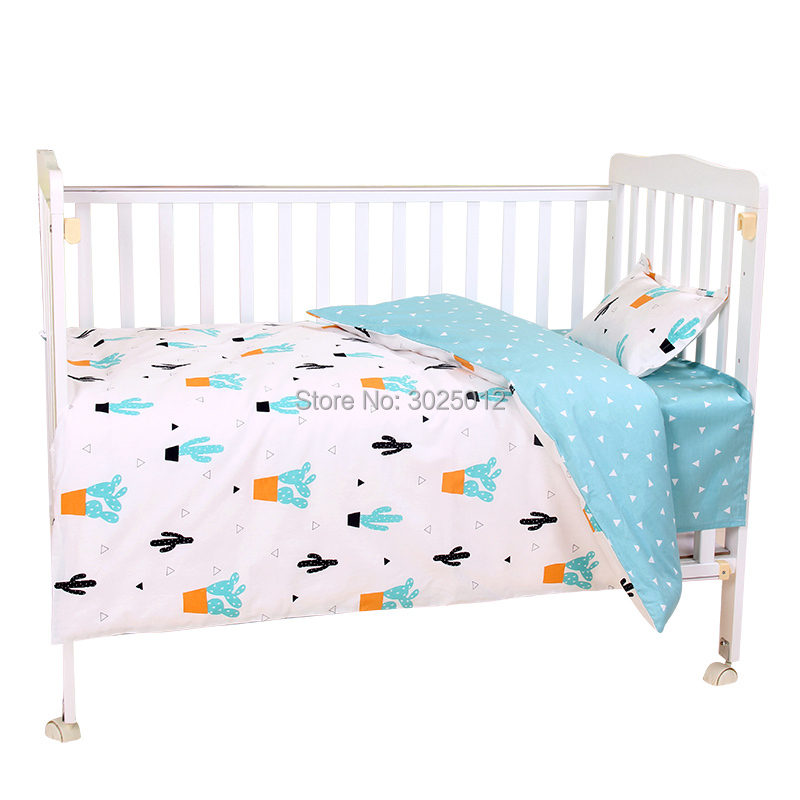 Image 4 - 3Pcs Baby Bedding Set Cartoon Cotton Baby Crib Sets Baby Cot Set Including Pillowcase Flat Sheet  Duvet Cover Without Filling-in Bedding Sets from Mother & Kids