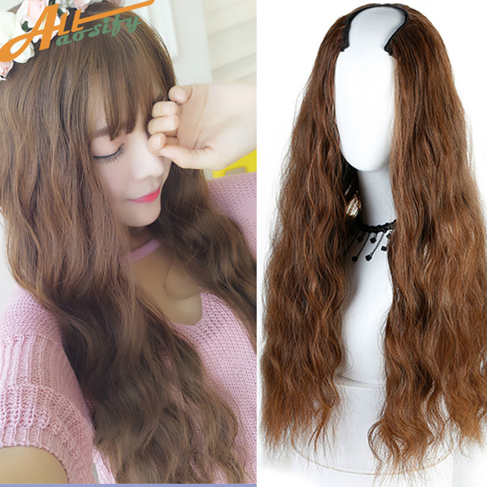 Allaosify Half Wig 3 Colors Long Curly For Female Party Halloween Synthetic High Tempera ...