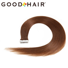 "Brazilian Straight Natural Tape Hair Tape On Human Hair Extensions 2G/Pcs 20"" Machine Made Remy Hair Skin Weft 40G #5 GOOD HAIR(China)"