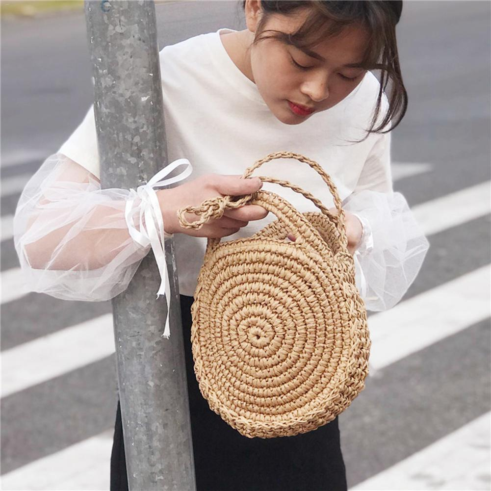 Retro Style Pure Hand-woven Package Beach Bag Household Storage Basket Closet Organizer Storage Bag Wardrobe Organizer