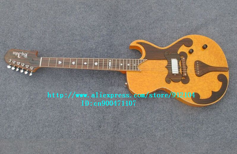 new  electric guitar with surface birdseye maple mahogany body in yellow+free shipping  JT-40 high quality hollow maple body nashville electric guitar with gold bigsby free shipping