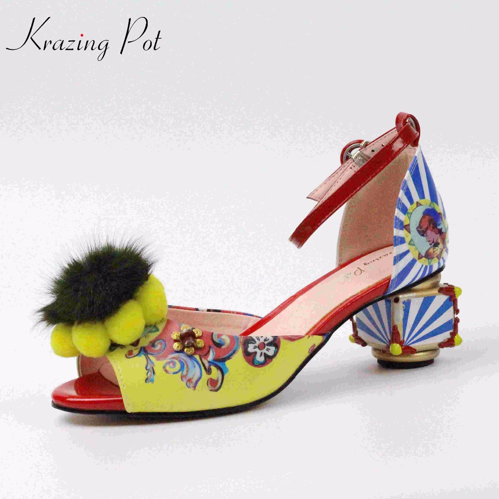 Krazing Pot colorful patterns flowers print brand summer shoes peep toe thick med heels party wedding big size luxury sandal L25 luxury brand shoes women peep toe
