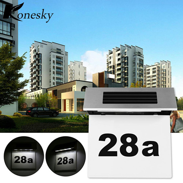 Konesky Outdoor Lighting Doorplate Solar Lamp Light Operated Led Billboard Of House Number Apartment