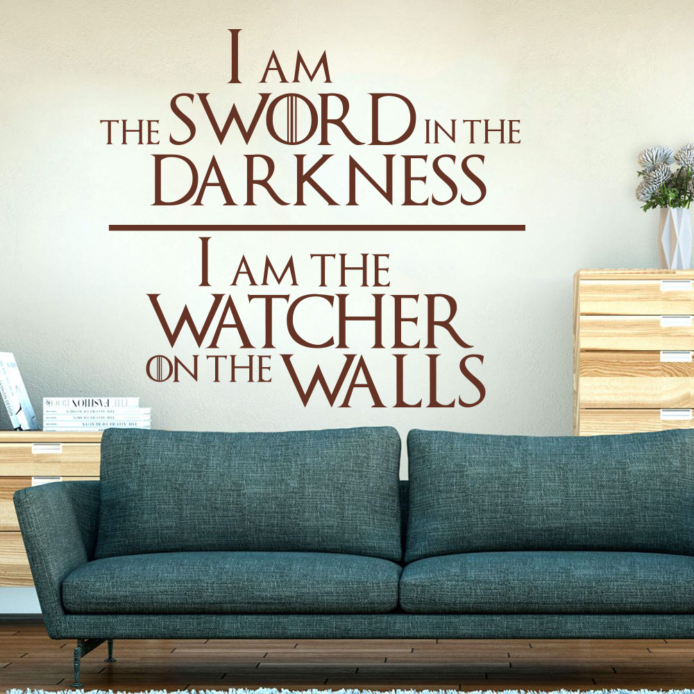 Game of Thrones  Knights Watch Oath Quote Wall Decal Nursery Kids Room Game of Thrones Sword Inspirational Quote Wall Sticker  (5)