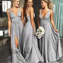 Custom Made Deep V-Neck A-Line Elastic Satin Pleated Mermaid Backless Bridesmaid Dresses
