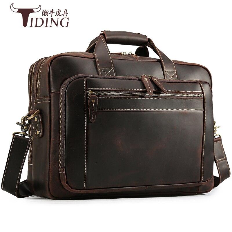 Для мужчин путешествия сумки Портфели из натуральной кожи Бизнес человек большой Ёмкость коричневый кожаный ноутбук через плечо сумка сум