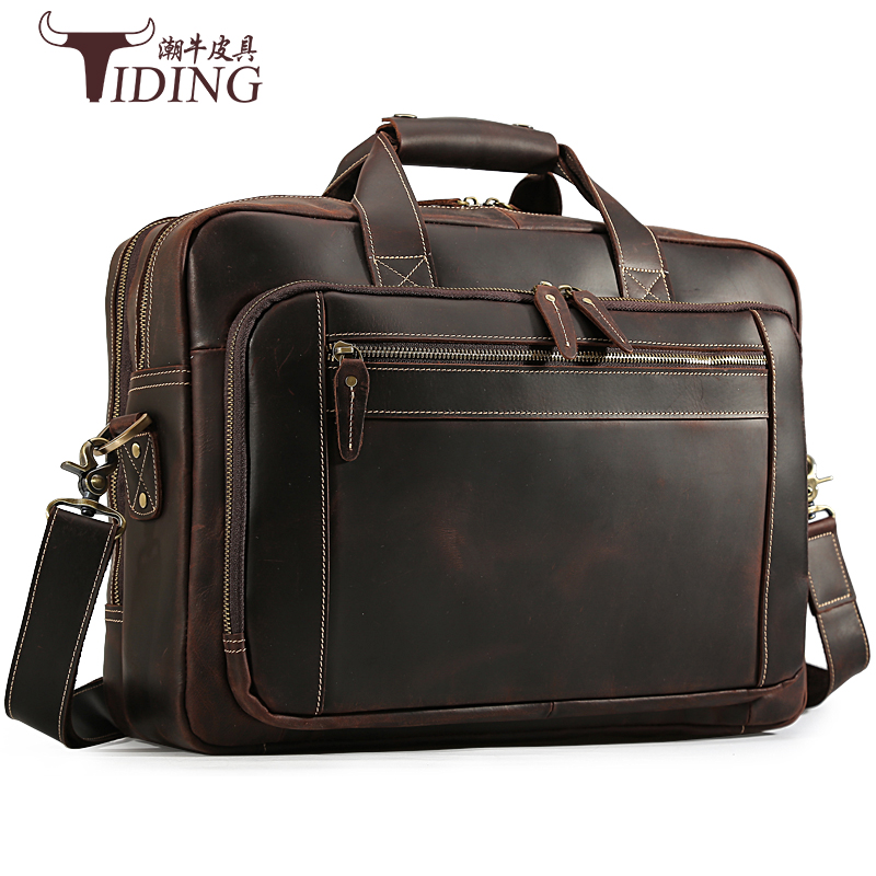 Men's Travel Bags Briefcases Real Leather Business Man Large Capacity Brown Leather Laptop Shoulder Crossbody Handbag Tote Bags
