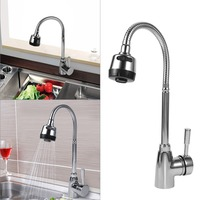 Zinc Alloy Swivel Spout Kitchen Sink Faucet Single Handle Mixer Cold And Hot Tap Waterfall Faucet