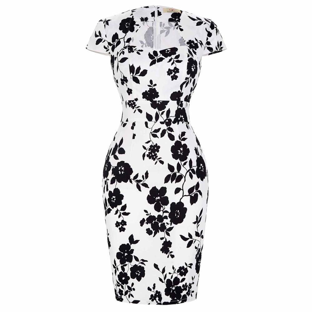 Сексуальное тонкое женское летнее платье, облегающее платье-карандаш из хлопка размера плюс 3XL, винтажное платье 50 s, платье для офиса, платье для работы - Цвет: 10