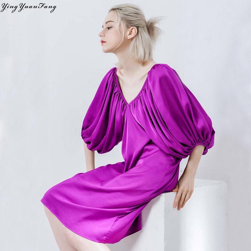 YingYuanFang Fashion women's deep V collar and cross tie dress