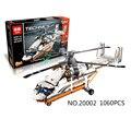 NOVA LEPIN 20002 série technic 1060 pcs Duplo rotor helicóptero de transporte Modelo de blocos de Construção Tijolos Compatível 42052 brinquedos Do Menino