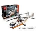 NUEVA LEPIN 20002 serie técnica 1060 unids Doble rotor helicóptero de transporte Modelo Building blocks Ladrillos Compatible 42052 juguetes de Niño