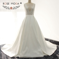 Rose Moda Low V Back Boho Wedding Dress See Through Lace Top Destination Wedding Gown Real