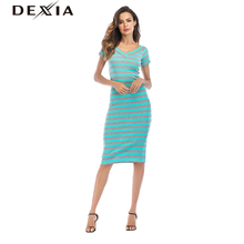DEXIA Summer Striped Dress Vestidos De Fiesta Cortos 2018 Short Sleeve Party A-Line Sexy V-Neck New Knee-Length Dress SKSQ9172