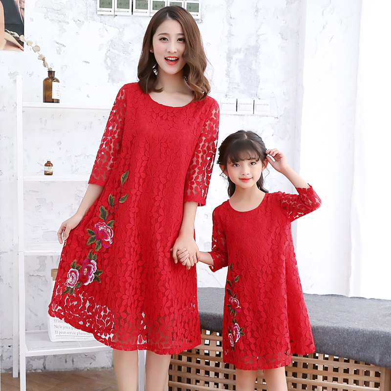 Mother Daughter Dresses Family Matching Clothes Princess Lace Flowers Dress for Girls Kids Dresses Autumn Baby Long Sleeve Dress girl dress princess autumn 2018 fashion flowers embroidery denim dress girls long sleeve turn down collar kids clothes b0659