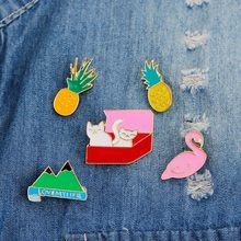 MJARTORIA 2018 Cartoon Pins Badge Lovely Plant Potted Collar Shoe Brooch Flamingo Pineapple Cat Tree Badges Decorative Clothing(China)