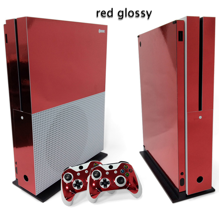 Protective Red Glossy sticker Design Skin Vinyl Stickers Skins For XBOX One S Console & Controller Cover ...