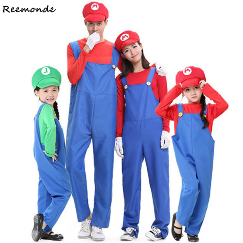 Adults Kids Funny Super Mario Luigi Brothers Plumber Cosplay Costume Rompers Hats For Women Men Boys Girls Halloween Fancy Party