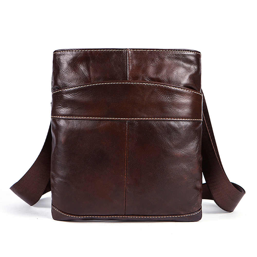Genuine Leather Business shoulder bag Messenger small square handbag The first layer of leather Cell Phone Pocket Crossbody bags