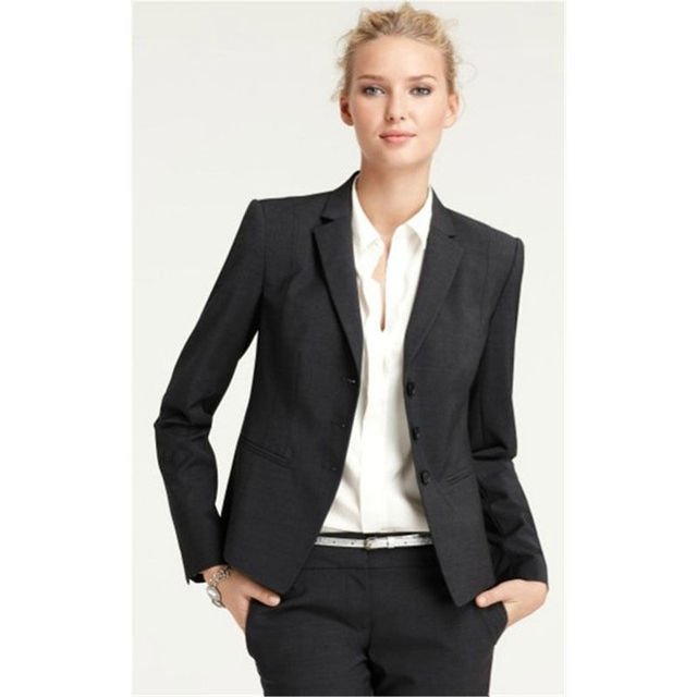 Tailored Made Black Women Pant Suit Female Office Uniform Notch