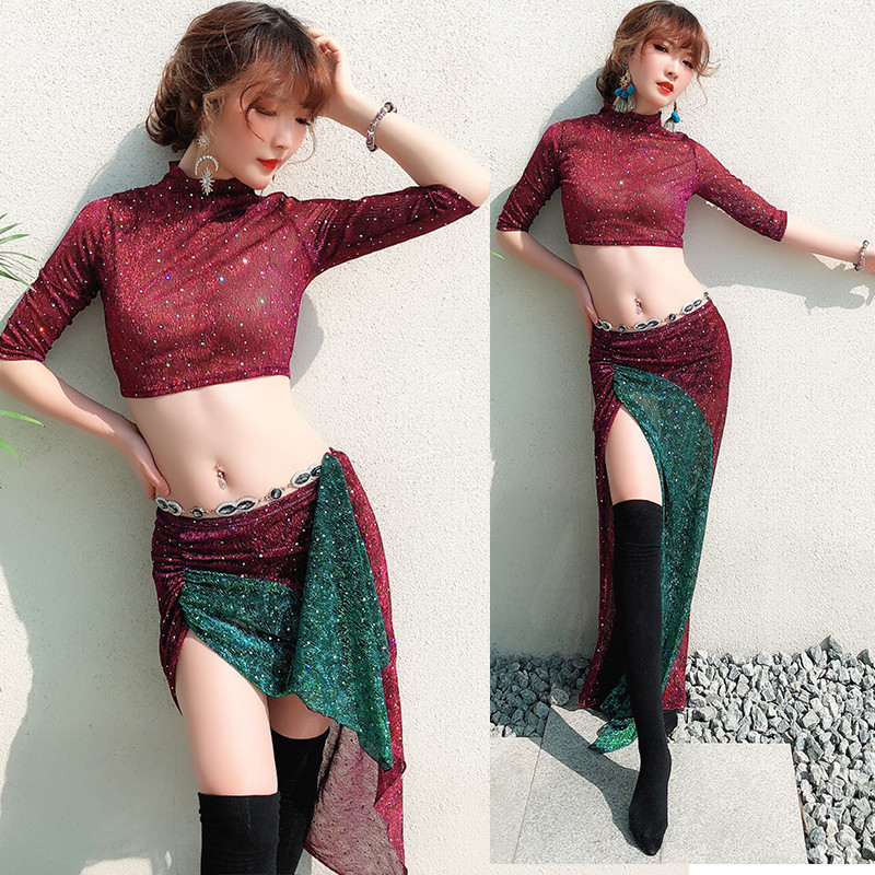 New Sexy Eastern Oriental Belly Dance Costume Tops Shirt Skirt For Women Belly Dancing Clothes Bellydance Clothing M, L