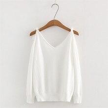 spring new Korean strap strapless solid loose sweater women, fashion wild V collar slim base women