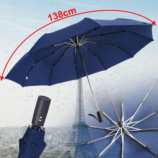125CM Windproof Automatic Umbrella For Men Brand Large Folding Umbrella Rain Woman Double Golf Business Automatic Car Umbrellas