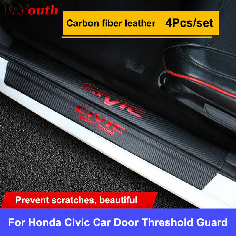 4PCs Door Threshold Guard For Honda Civic Car Door Sill Scuff Plate Protector Carbon Fiber PU Leather Sticker Car Accessories