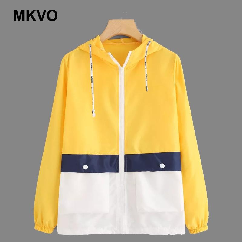 Women   Basic     Jackets   Female Zipper Pockets Casual Long Sleeves Coats Autumn Hooded   Jacket   Two Tone Windbreaker   Jacket   Ladies' top