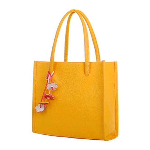 ffc26cbacc0 2018 new Hot Sale Fashion and high quality PU Girls Handbags Trendy Leather  Shoulder Bag Flowers Totes Yellow versatile casual