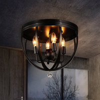 American Style Vintage Bar Light Fixture Loft Industrial Ceiling Luminaire Stairs Balcony Iron Ceiling Lights
