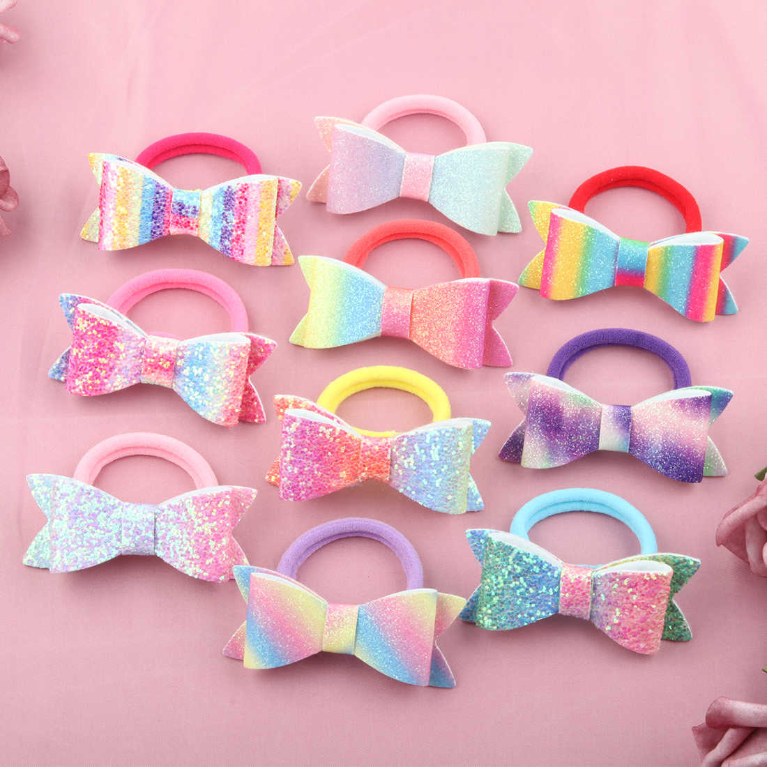 1 PC Child Hair Bow Tie Elastic Hair Band Glitter Hairbow Rope Rainbow Sequin Sparkly  3 Inch Bows Mermaid Girls Sweet Headwear