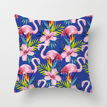 Fuwatacchi Tropical Flamingo Decorative Cushion Cover Animal Flower Pillow Cover Sofa Car Home Wedding Decoration Pillowcases fuwatacchi floral cushion cover feather leaves gold pillow cover for decor sofa chair square decorative pillowcases