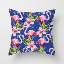 Fuwatacchi Tropical Flamingo Decorative Cushion Cover Animal Flower Pillow Cover Sofa Car Home Wedding Decoration Pillowcases цены