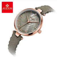 Julius Vintage Gray Shell Dial Wavy Leather Woman Watch Classic Lady Brand Waterproof Quartz Wristwatches Dress Watches Relojes