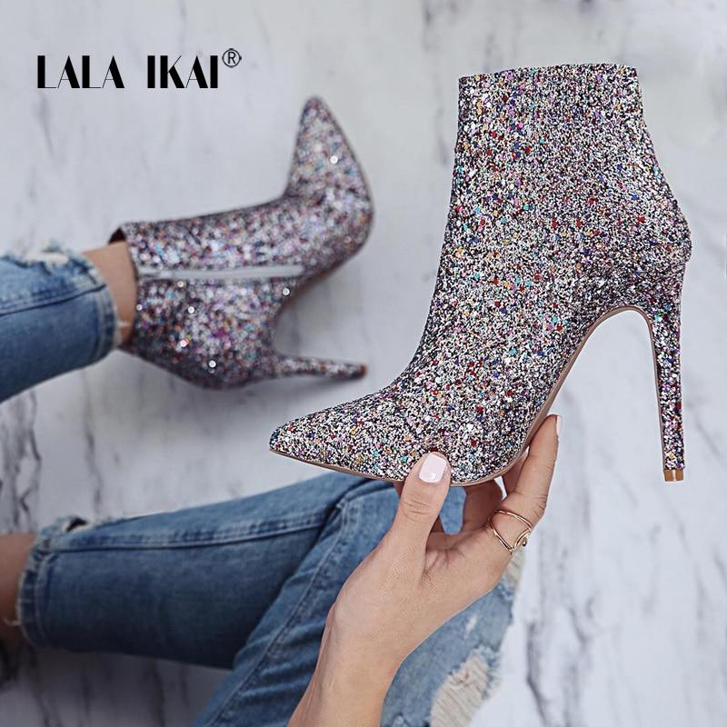 LALA IKAI Bling Pailletten Zipper Wies Stiefel Frauen Hochhackige 10 cm Winter Schuhe Mode Damen Stiefeletten 014N1824- 4