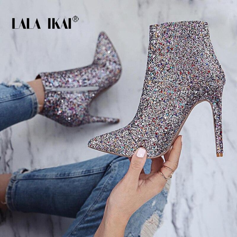 LALA IKAI Bling lentejuelas cremallera señaló botas de mujer de tacón alto 10 cm de invierno zapatos de moda Zapatos de botas de tobillo de Damas 014N1824- 4